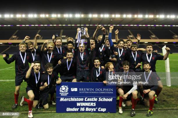 Merchiston's celebrate winning Under 16's Cup Final at Murrayfield Edinburgh PRESS ASSOCIATION Photo Picture date Thursday November 29 2012 Photo...