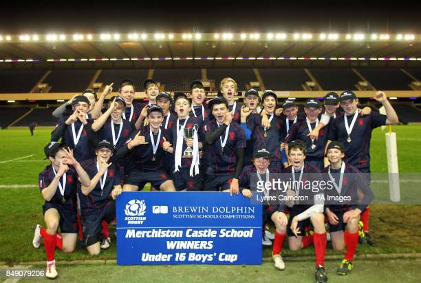 Merchiston's celebrate winning Under 16's Cup Final at Murrayfield Edinburgh