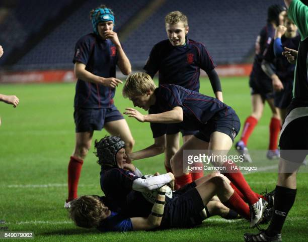 Merchiston's Jamie Maran scores the winning try Under 16's Cup Final at Murrayfield Edinburgh PRESS ASSOCIATION Photo Picture date Thursday November...