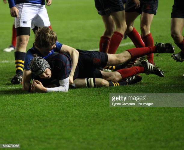 Merchiston's Jamie Maran scores the winning try Under 16's Cup Final at Murrayfield Edinburgh