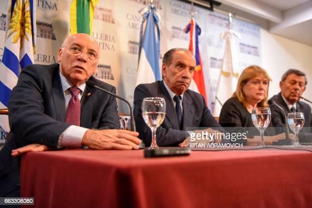 Mercosur foreign ministers Eladio Loizaga of Paraguay Aloysio Nunes of Brazil Susana Malcorra of Argentina and Rodolfo Nin Novoa of Uruguay give a...