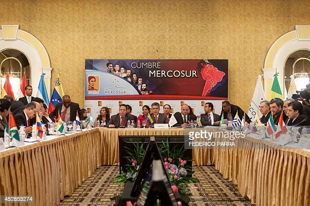 Mercosur Foreign Ministers participate in a preparatory meeting for Tuesday's XLVI Mercosur meeting of presidents in Caracas on July 28 2014 The...