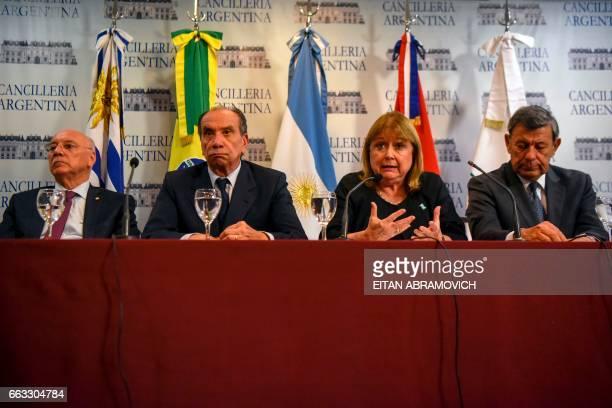 Mercosur foreign ministers Susana Malcorra of Argentina Aloysio Nunes of Brazil Eladio Loizaga of Paraguay and Rodolfo Nin Novoa of Uruguay give a...