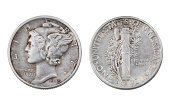 A circulated United States Mercury Dime minted in Denver in 1945.