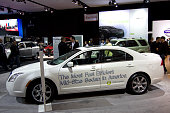 'Mercury Milan claiming to be 'the most fuel efficient midsize vehicle in America' 2009 New York International Auto Show Jacob Javits Convention...