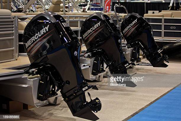 Mercury outboard motors are displayed at the 83rd annual Chicago Boat Sports and RV Show in Chicago Illinois US on Thursday Jan 10 2013 The US Census...