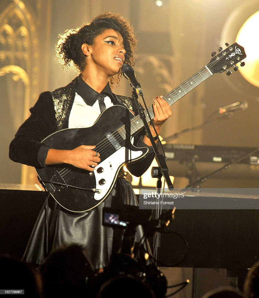 Mercury Prize nominee <a gi-track='captionPersonalityLinkClicked' href=/galleries/search?phrase=Lianne+La+Havas&family=editorial&specificpeople=8664655 ng-click='$event.stopPropagation()'>Lianne La Havas</a> performs supporting Alicia Keys as part of MTV Crashes... at Manchester Cathedral on September 24, 2012 in Manchester, England.