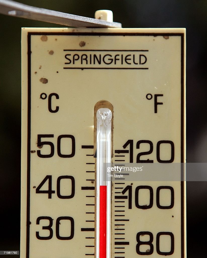 A mercury thermometer reads 105 degrees August 1, 2006 in Des Plaines, Illinois. Hot and humid weather has hit parts of the Midwest with temperatures around the Chicago and suburban areas in the high 90's and heat index readings nearing 105.