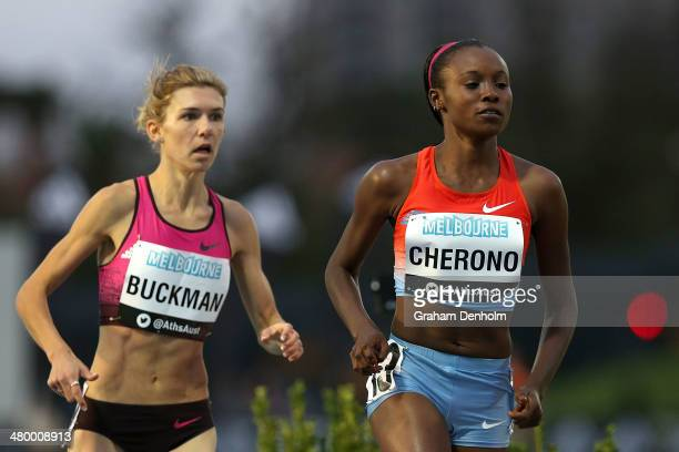 Mercy Cherono of Kenya and Zoe Buckman of Australia compete in the Women's 1500 metres Open during the IAAF Melbourne World Challenge at Olympic Park...