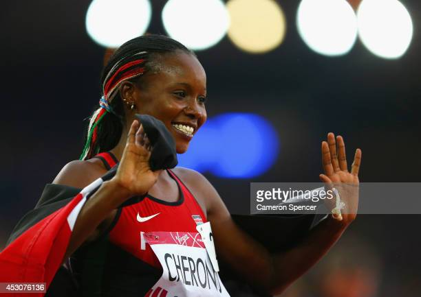 Mercy Cherono of Kenya celebrates winning gold in the Women's 5000 metres final at Hampden Park during day ten of the Glasgow 2014 Commonwealth Games...