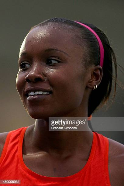 Mercy Cherono of Kenya smiles after victory in the Women's 1500 metres Open during the IAAF Melbourne World Challenge at Olympic Park on March 22...