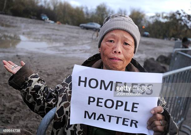 Mercy Wong protests at a Silicon Valley homeless encampment known as The Jungle on December 4 in San Jose California Authorities began dismantling...