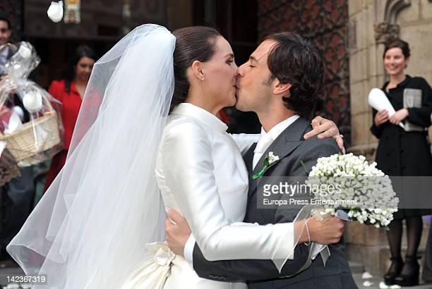 Merdeces Pujol Girona the grandaughter of politician Jordi Pujol and Ignacio Garcia de Quevedo attend their wedding at Santa Maria del Mar Church on...