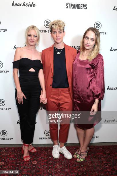 Meredith Hagner Mia Lidofsky and Jemima Kirke attend the Refinery29 and Beachside Productions Strangers series party at The Metrograph Theater on...