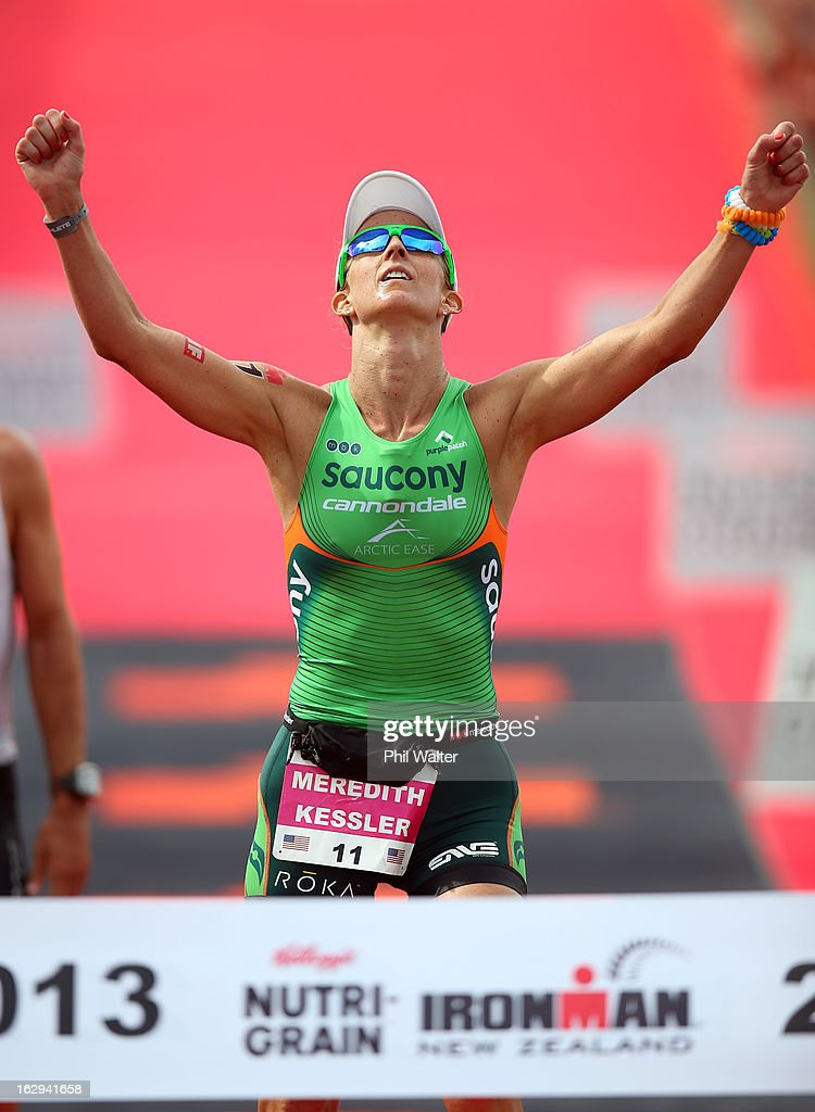 Meredith Kessler of the USA celebrates on being the first Women across the finish line during the New Zealand Ironman on March 2, 2013 in Taupo, New Zealand.