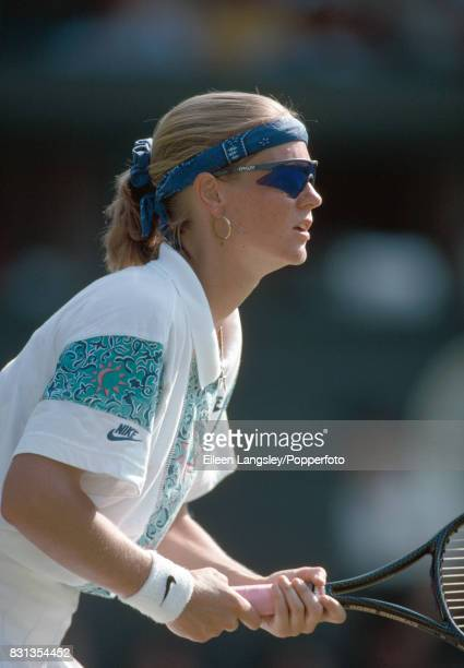 Meredith McGrath of the USA in action during a women's singles match at the Wimbledon Lawn Tennis Championships in London circa June 1994 McGrath was...