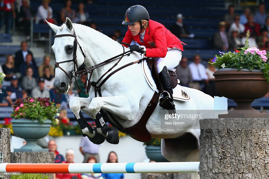 <a gi-track='captionPersonalityLinkClicked' href=/galleries/search?phrase=Meredith+Michaels-Beerbaum&family=editorial&specificpeople=224890 ng-click='$event.stopPropagation()'>Meredith Michaels-Beerbaum</a> of Germany competes on her horse Fibonacci 17 during the Turkish Airlines Prize Individual Show Jumping competition on Day 8 of the FEI European Equestrian Championship 2015 on August 19, 2015 in Aachen, Germany.