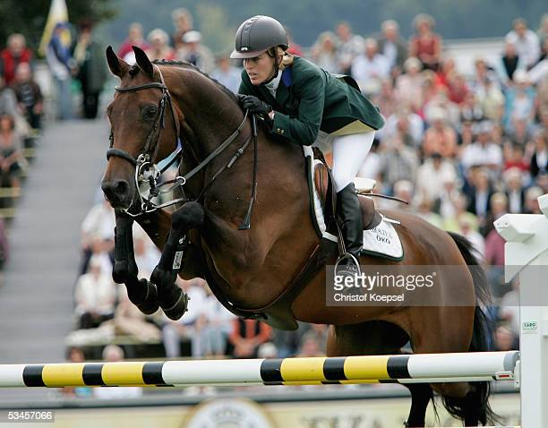 Meredith MichaelsBeerbaum of Germany jumps on Shutterfly in the discipline of show jump and won the S5 price of Europe during the CHIO Aachen 2005 on...