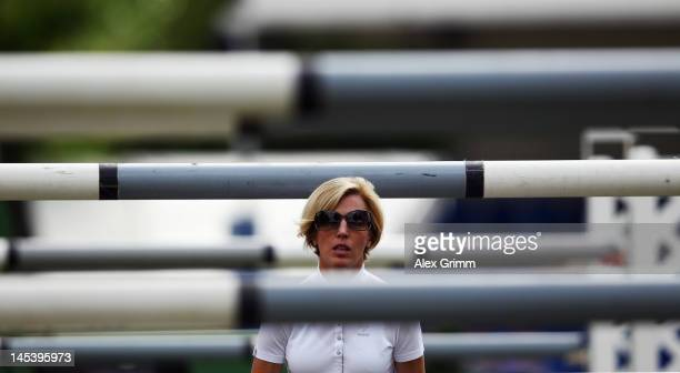 Meredith MichaelsBeerbaum of Germany looks on prior to the CSI jumping 'Preis der Landeshauptstadt Wiesbaden' competition at the 76th international...