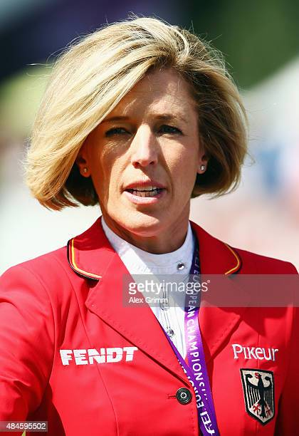 Meredith MichaelsBeerbaum of Germany looks on prior to the MercedesBenz Prize Team Show Jumping competition on Day 9 of the FEI European Equestrian...