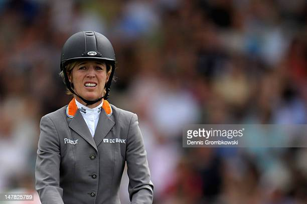 Meredith MichaelsBeerbaum of Germany reacts during the Warsteiner Price of Europe S4 jumping competition during day two of the 2012 CHIO Aachen...