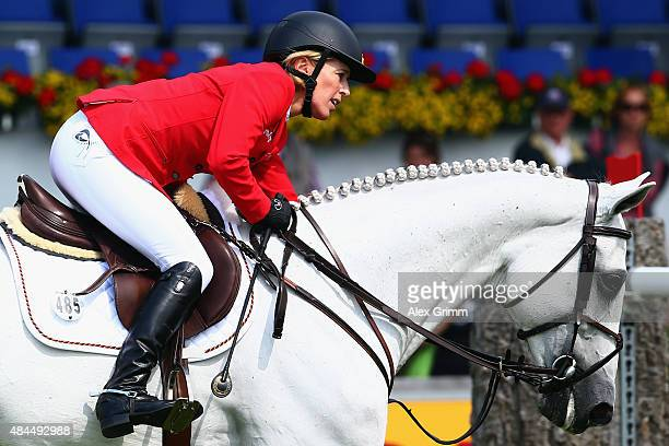 Meredith MichaelsBeerbaum of Germany reacts on her horse Fibonacci 17 during the Turkish Airlines Prize Individual Show Jumping competition on Day 8...