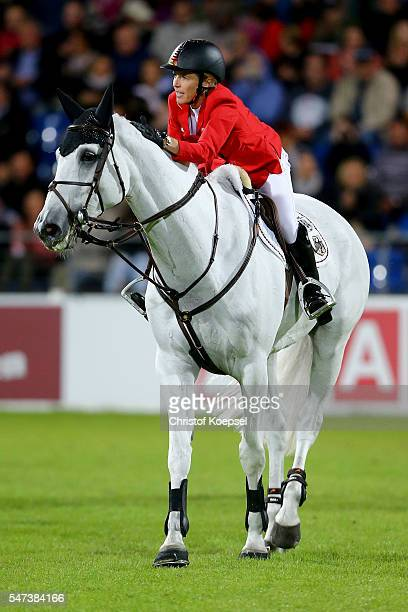 Meredith MichaelsBeerbaum of Germany rides on Fibonacci 17 and celebrates her second ride during the Mercedes Benz Nations Cup of CHIO Aachen 2016 at...