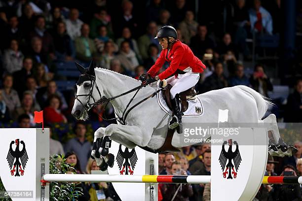 Meredith MichaelsBeerbaum of Germany rides on Fibonacci 17 during the Mercedes Benz Nations Cup of CHIO Aachen 2016 at Aachener Soers on July 14 2016...