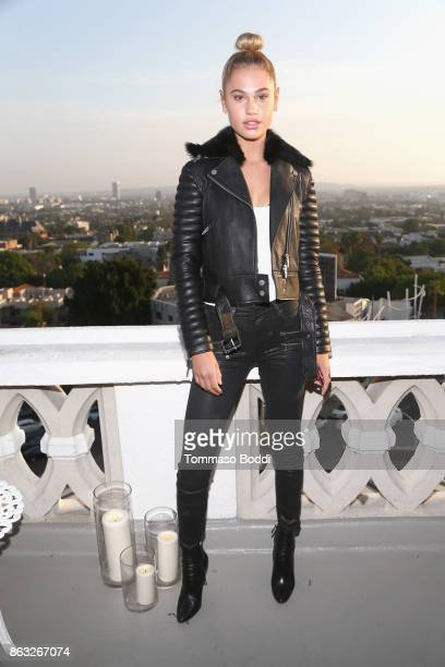 Meredith Mickelson at the Alice McCall SS18 launch event with campaign face Stella Maxwell at Chateau Marmont on October 19 2017 in Los Angeles...