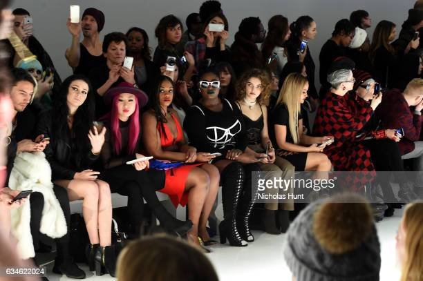 Meredith O'Connor Danielle Brooks Camren Bicondova and Kat DeLuna attend the Chromat collection front row during New York Fashion Week The Shows at...