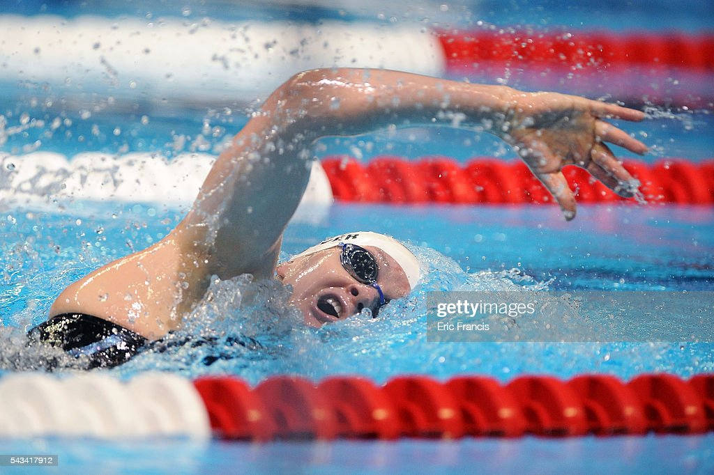 Meredith Oliver of the United States competes in a preliminary heat of the Women's 200 Meter Freestyle during Day 3 of the 2016 U.S. Olympic Team Swimming Trials at CenturyLink Center on June 28, 2016 in Omaha, Nebraska.