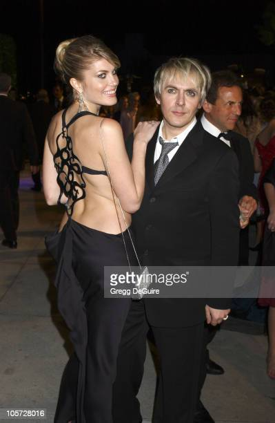 Meredith Ostrom and Nick Rhodes during 2005 Vanity Fair Oscar Party Arrivals at Mortons in Los Angeles California United States