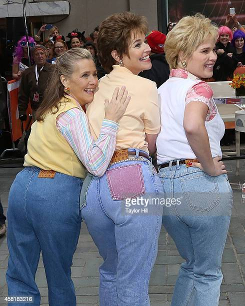 Meredith Vieira Savannah Guthrie and Jenna Bush Hager wear 'Mom Jeans' at TODAY Plaza on October 31 2014 in New York City