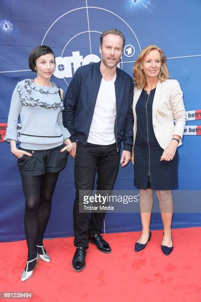 Meret Becker Mark Waschke and RBBIntendantin Patricia Schlesinger during the 'Tatort Amour fou' Preview And Photo Call in Berin Deutschland 2017 at...