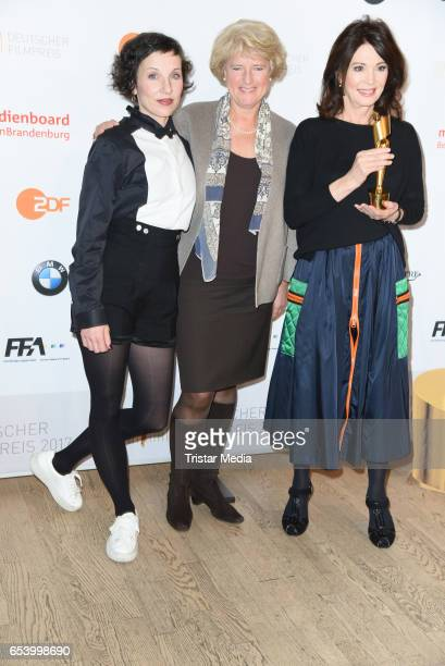 Meret Becker Monika Gruetters and Iris Berben attend the nominees announcement for the Lola German film award at Deutsche Kinemathek on March 16 2017...