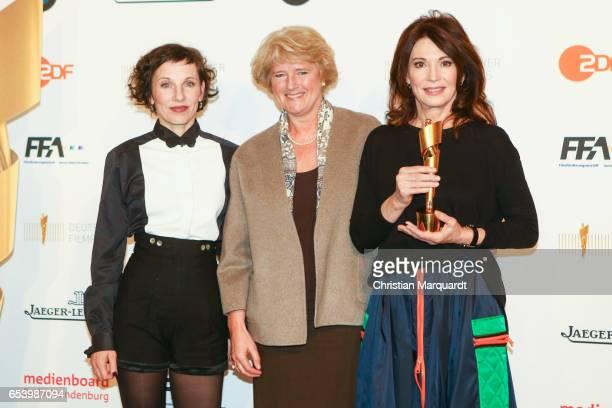 Meret Becker newly elected board member of the Deutsche Filmakademie Monika Gruetters Berlins Minister of Culture and Iris Berben President of the...