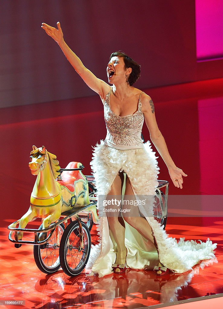 Meret Becker presents the B.Z. Kulturpreis show on January 18, 2013 in Berlin, Germany.