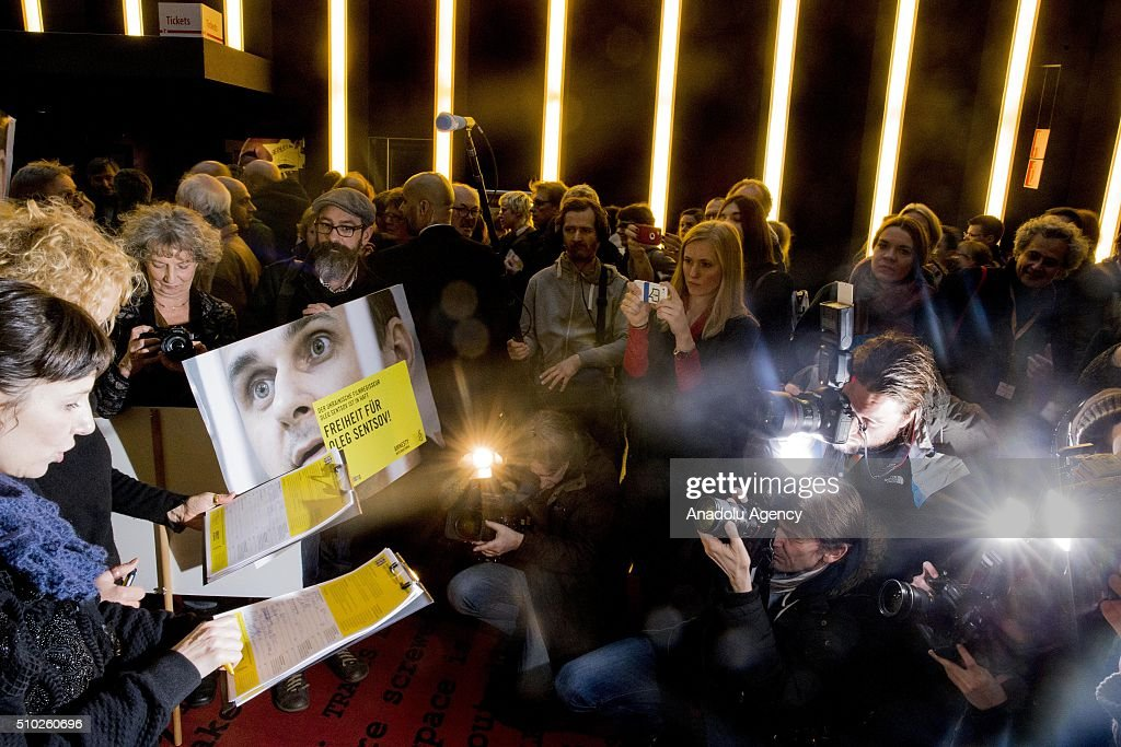 Meret Becker (L) takes part in a protest for the release of Ukrainian director Oleg Sentsov during the 66th annual Berlin International Film Festival, in Berlin, Germany, 14 February 2016.