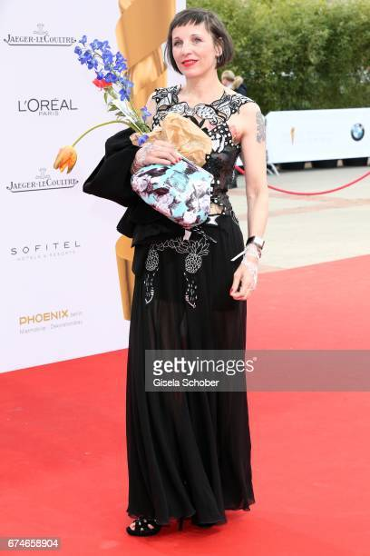 Meret Becker wearing a watch by JaegerLeCoultre during the Lola German Film Award red carpet arrivals at Messe Berlin on April 28 2017 in Berlin...