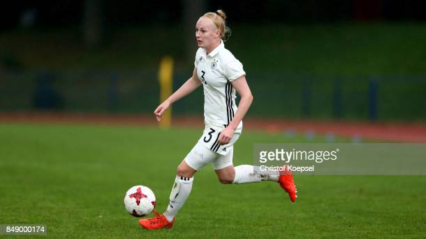 Meret Wittjeof Germany runs with the ball during the UEFA Under19 Women's Euro Qualifier match between Germany and Iceland at Stadium Wedau III on...