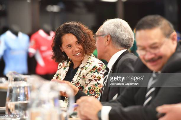 Merewaakana Kingi and Retiring Board Member Peter Goldsmith speak during the New Zealand Maori Rugby Board AGM at New Zealand Rugby House on April 26...