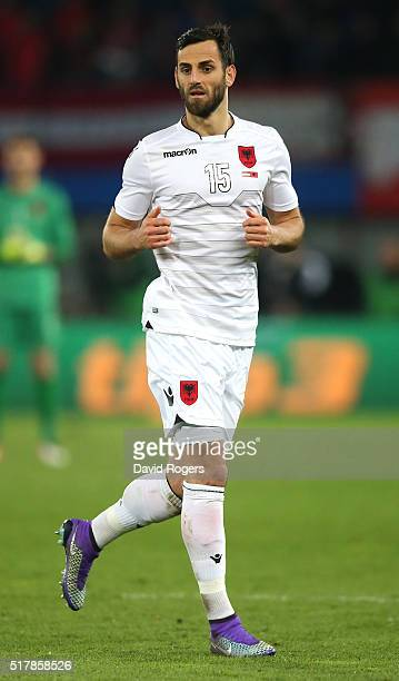 Mergim Mavraj of Albania looks on during the international friendly match between Austria and Albania at the Ernst Happel Stadium on March 26 2016 in...