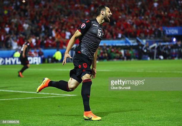 Mergim Mavraj of Albania reacts after missing a chance during the UEFA EURO 2016 Group A match between Romania and Albania at Stade des Lumieres on...