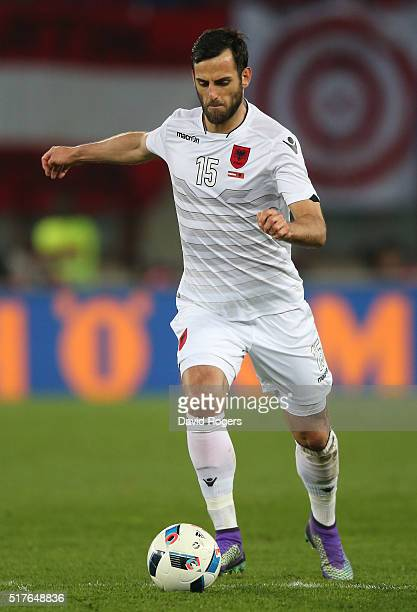 Mergim Mavraj of Albania runs with the ball during the international friendly match between Austria and Albania at the ErnstHappelStadion on March 26...