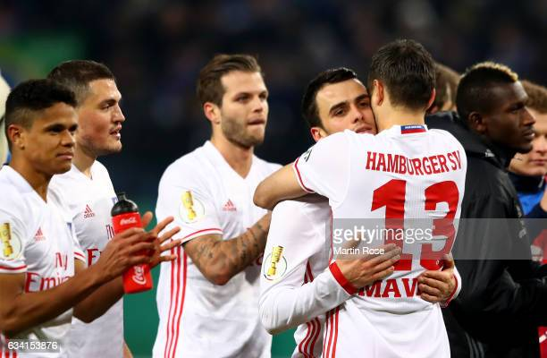 Mergim Mavraj of Hamburg and Filip Kostic celebrate after the DFB Cup round of 16 match between Hamburger SV and 1 FC Koeln at Volksparkstadion on...