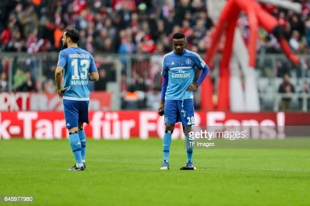 Mergim Mavraj of Hamburg Gideon Jung of Hamburg looks dejected during the Bundesliga match between Bayern Muenchen and Hamburger SV at Allianz Arena...