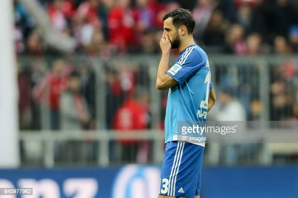 Mergim Mavraj of Hamburg looks dejected during the Bundesliga match between Bayern Muenchen and Hamburger SV at Allianz Arena on February 25 2017 in...