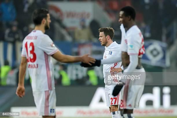 Mergim Mavraj of Hamburger Nicolai Mueller of Hamburger Gideon Jung of Hamburger disappointed during the Bundesliga match between FC Ingolstadt 04...
