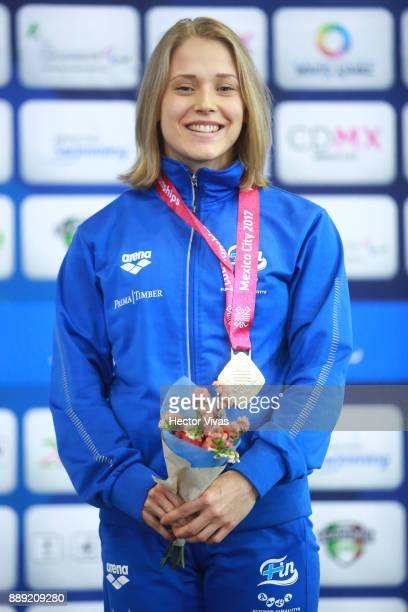 Meri Makkinen of Finland Gold Medal celebrates in women's 200 m Freestyle SM7 during day 7 of the Para Swimming World Championship Mexico City 2017...