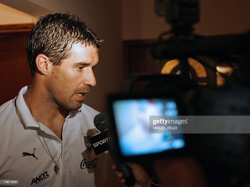 Uruguayan footballer Andres Scotti speaks to the press 24 June 2007 in Merida Venezuela Uruguay will face Peru in their first match in the Copa...